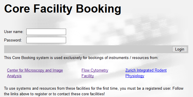 Login to booking system